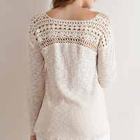 Crochet Lace Yoke Sweater - Natural
