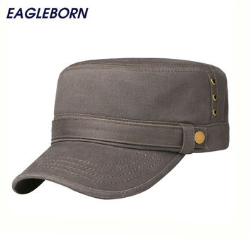 Simple Stylish Army Military Hat Cotton Unisex Flat Roof Trucker Hats Baseball cap For Men Outdoor Gorroas Casquette Cheapu