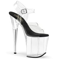 Clear Platform Ankle Strap Sandal With Black Foot Pad Clear Fitness-Competition Shoes.