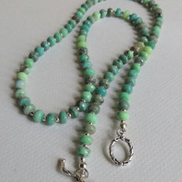 Green Opal Necklace with Green Glass and Sterling Silver Clasp, Statteam