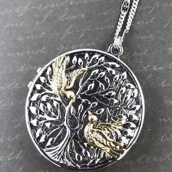 Tree of Life Two-Tone Locket Necklace - Antique Silver Tone