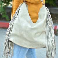 Fringe Hobo Bag - Stone