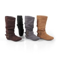Brinley Co. Womens Regular and Wide-Calf Buckle Mid-Calf Slouch Boot