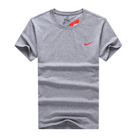 """Nike"" Men Simple Casual Logo Print Round Neck Short Sleeve Cotton T-shirt"