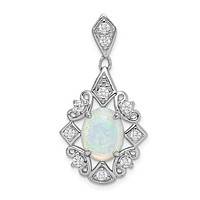 Sterling Silver Created Opal Oval And CZ Pendant