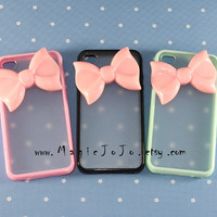 Pink bow iPhone 4 4s 5 5s 5C case, Pink/ black/ mint green/ hot pink side clear Case plastic Cover