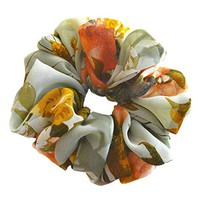 Green Classic Floral Scrunchies For Hair Chiffon Designer Accessories Large Elastic Hair Ties Girls Ladies Women