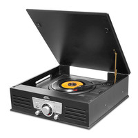 Pyle Bluetooth Classic Style Record Player Turntable with Vinyl to MP3 Recording, USB-SD Card Readers and AM-FM Radio