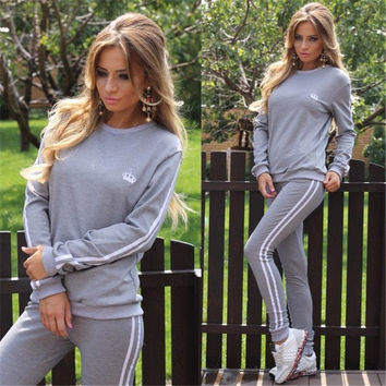 Womens Casual Sport Tops Sweatshirt + Pants Sport Suit Sweat Suits Tracksuit = 5710899329