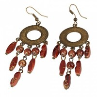 Elegant Circle Style Brown Beads Tassel Earrings