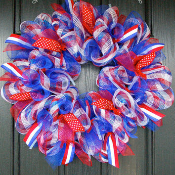 Patriotic Mesh Wreath by FrontDoorExpressions on Etsy