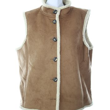 L.L.Bean womens jacket faux leather and wool vest Size XL Button up