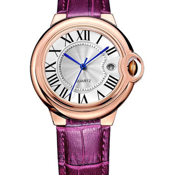 BINGER Womens Date Dress Watch Rose Gold Roman Numeral Burgundy Leather Strap...