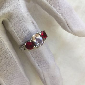 Vintage Bohemian Garnet and Kunzuite 925 Sterling Silver gold Rhodium Finish Ring