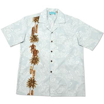 old hawaii light blue hawaiian border shirt