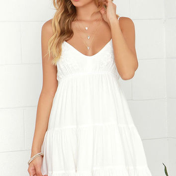 Weightless Wonder Ivory Embroidered Dress