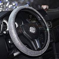 RUIRUI Cystal Car Steering Wheel Cover £¬38CM/15'' Universal PU Leather Bling Bling Rhinestones Steering Wheel Cover Four Seasons Steering Cover