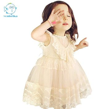 2017 Newest Summer Cute Lace Baby Girls Dress Korean Style Trendy And Retro Princess Clothes Kids Children's Costume Clothing