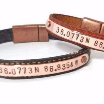 VLX9RV Copper and Leather Bracelet