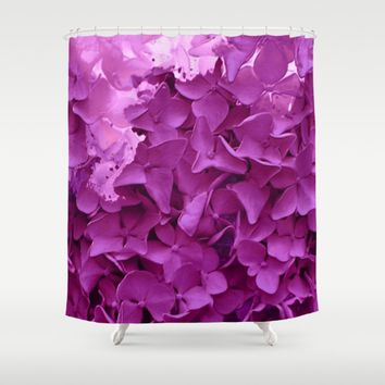 through the purple hydrangea Shower Curtain by clemm