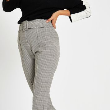 Grey check high waisted fitted trousers - Leggings - Trousers - women