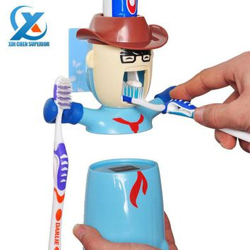 DCCKWQA Cartoon Traceless Plastic Automatic Toothpaste Dispenser Set Kids Toothbrush Holder Bathroom Toothpaste Squeezer Fast Shipping