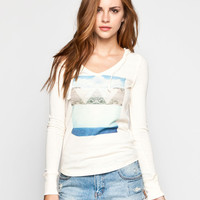 Roxy Mystic Waters Womens Hooded Thermal Cream  In Sizes