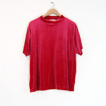 Vintage 90s Velour Mock Neck Top - Red Velour Top Mock Neck Tee Oversized Top Mock Turtleneck 90s Minimalist Red Velvet Top Stretch Velvet