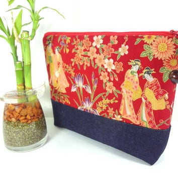 Large Cosmetic Pouch, Handmade Travel Pouch,Unique Gift Ideas,Padded Cosmetic Bags Japanese Kimono Cotton Fabric Geisya Red