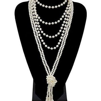 "1920s Pearls Necklace Gatsby Accessories 59"" and 45"" Knot Long Necklace for Women"
