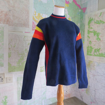 Hipster Ski Sweater Navy Blue with Red Yellow Orange Stripes XL  Unisex