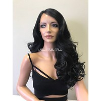 Black Human Hair Blend L Deep Parting SWISS Lace Front Wig - Wanda