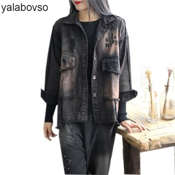 Yalabovso 2017 Newest  Autumn Emboidery Punk Styles Woman's Denim Jacket Patchwork Loose Hole Vintage Loose Coat A74-515665 z20