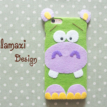 Handmade Felt Sad Hippo iPhone 6 Case, Cute Green Hippo Phone Case for iPhone SE, Felt Hippo Samsung Galaxy S7 Case, Custom Phone Case