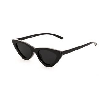 Slim Retro Cat Eye Sunglasses Black