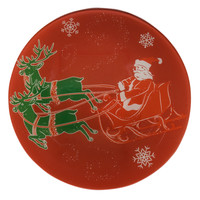 Tag vintage Christmas glass plate - Red