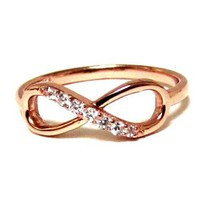 Delicate Infinity Ring-Rose Gold Over Sterling Silver W/ CZ