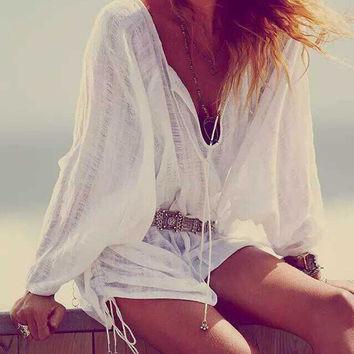 White V-neck Tied Side Long Sleeve Blouse