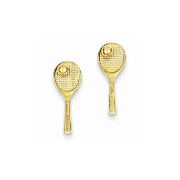 14k Yellow Gold Tennis Racquet with Ball Post Earrings