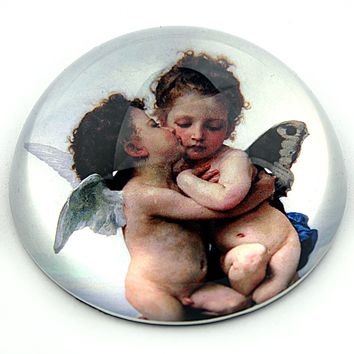 Bouguereau Love and Psyche Glass Romantic Desktop Paperweight 3W