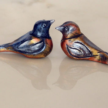 Clay Birds, Pair of Baltimore Orioles, Male and Female, Semi Abstract Bird Figurines, Hand Sculpted and Metallic Texture Polymer Clay