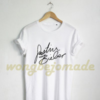 Justin Bieber Shirt Justin Bieber Signature Bieber Fever Purpose Album Grey and White Color Tshirt