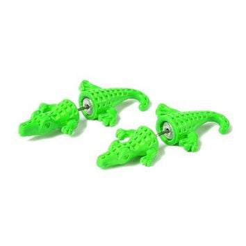 Alligator Front and Back Stud Earrings  | Claire's