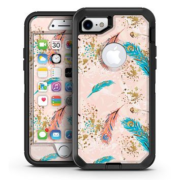 Teal and Croal Feathers Over Gold Strokes - iPhone 7 or 7 Plus OtterBox Defender Case Skin Decal Kit