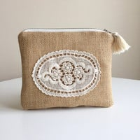 Burlap Zippered Pouch,Floral Make up bag,Burlap Cosmetic Bag,Romantic pouch,Boho Clutch bag,Floral zipper pouch,bohemian pouch,coin purse