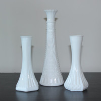 Vintage milk glass vase trio - White glass, single stem vase, white decor, vintage glass