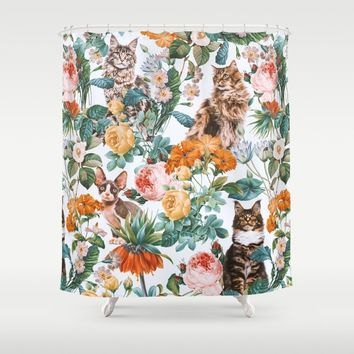Cat and Floral Pattern III by Burcu Korkmazyurek