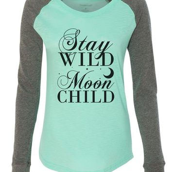"Womens ""Stay Wild Moon Child"" Long Sleeve Elbow Patch Contrast Shirt"
