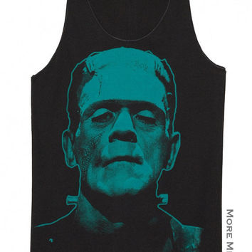 Frankenstein Classic Movie Horror Singlet Vest Tunic Tank Top Charcoal Black Sleeveless Shirt Women Indie Punk Rock T-Shirt Size M-L