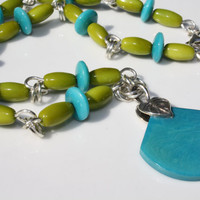 Bright Turquoise and Lime Green Olive and Lentil Shaped Tagua Nut Sterling Silver Necklace